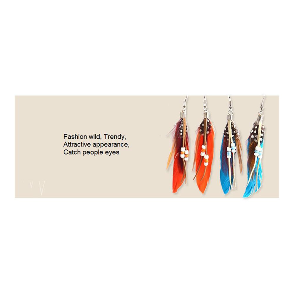 fashion Boximiya multicolor meters living feather earrings wholesale   ORANGE