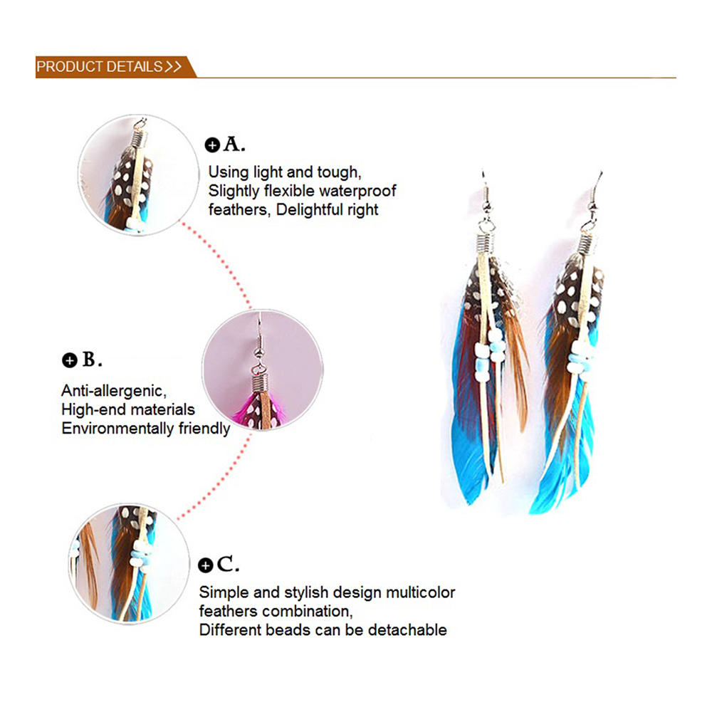 fashion Boximiya multicolor meters living feather earrings wholesale   WHITE