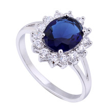 18K Gold Platinum Plated  Blue Rhinestone Ring platinum plated blue zirc... - $11.99