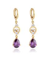 Water-drop Earrings 18K Gold Galvanized Zircon    purple - $10.99