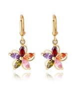 Colorful Zircon Flower Earrings - $11.99