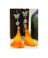 Earring Long Woman All-match Vintage Stylish Earring Silver Earring Orange - $16.99
