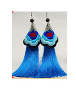 Embroided Flower Earring Tassel Vintage Exaggerated Long Earring Woman  ... - $12.99