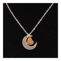 X329 love Valentine's Day love couple  moon necklace GRANDPA SILVER - $8.99