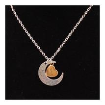 X329 love Valentine's Day love couple  moon necklace GRANDPA SILVER - $12.09 CAD