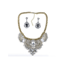 Necklace Suit High Grade Western Vintage Court Necklace Earring   white - $23.09