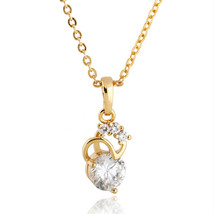 18K Gold Platinum Galavanized Zircon Necklace Pendant   gold plated - $10.99