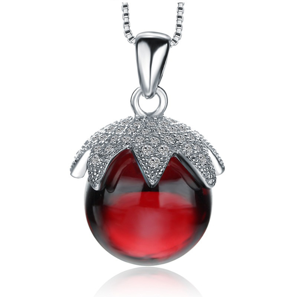 Primary image for CYW explosion models genuine 925 sterling silver necklace large red crystal ball