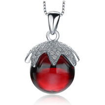 CYW explosion models genuine 925 sterling silver necklace large red crys... - $17.35 CAD