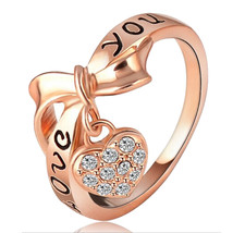 Love Heart Letter Ring 18K Gold Plated    gold plated white zircon 7.75# - $10.99