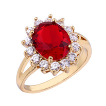 18K Gold Platinum Plated Red  Rhinestone Ring   gold plated red zircon 7# - $11.99
