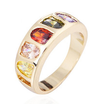 Colorful Zircon Ring Galvanized Gold Boutique   yellow gold plated 6.5# - $11.99