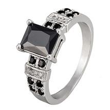 Black Square Zircon Bputique Ring Vintage   platinum plated black zircon 7# - $10.99
