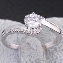 Simple Round Zircon Ring   6.5# platinum plated white - $10.99