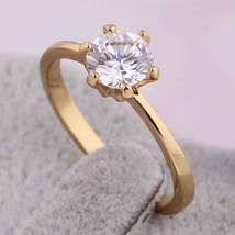 Single Zircon Gold Platinum Plated Ring    gold plated white zircon 6.5# - $10.99