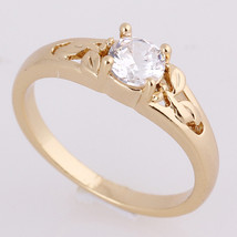 Gold Platinum Plated Zircon Ring    6.5#gold plated yellow - $10.99