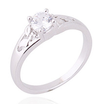 Gold Platinum Plated Zircon Ring     5.25#platinum plated white - $10.99