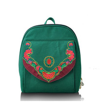 Embroidery Bag Stylish Featured Shoulders Bag Fashionable Bag Woman's Bag green - $38.49