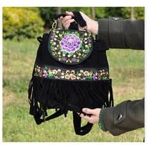 Fashionable Ebroidery Bag Stylish Featured Shoulders Bag Fashionable Bag   black - $35.19