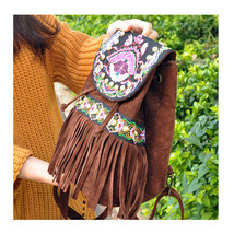 Fashionable Ebroidery Bag Stylish Featured Shoulders Bag Fashionable Bag   brown - $35.19