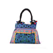 Fashionable Woman Bag Embroidered Bag Single-shoulder Bag   blue colour scheme - $38.49