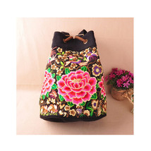 Shoulders Bag Multi-functional Travel Bag Embroidery Schoolbag  peony - $31.89