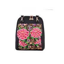 Featured Woman Embroidered Shoulders Bag Chinese Style Bag   peony - $34.09