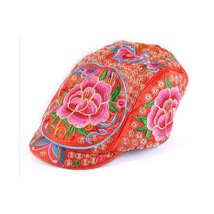 Embroidery Woman Peaked Cap Liping Peaked Cap Androsace Carnea  red - $23.99