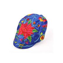 Kunming Cap Balck Peaked Cap Woman Embroidery Dahlia   blue - $22.99
