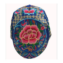 Embroidery Woman Peaked Cap Liping Peaked Cap Androsace Carnea  dark blue - $23.99