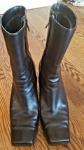 """Anne 2 Klein Black Leather Women's Boots Size 9 Med 2 3/4"""" Heel Square Toe EUC! - $24.75"""