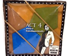 Vintage Act 4 Men's Handkerchiefs Hankies Set of 4 in Blue, Olive, Musta... - $12.99
