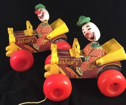 2 Vintage Fisher Price Jalopy with Clown Driver Pull Toy #724 1965 - $24.26