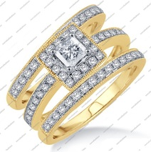 1.91Ct 14K Yellow Gold Fn. Princess Cut Cubic Zirconia Engagement Trio Ring Set - £119.62 GBP