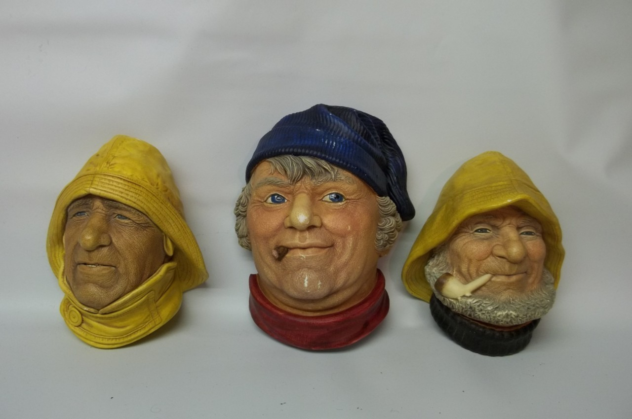3 Vintage BOSSONS LEGEND Chalkware Heads Life-Boatman Old Salt & Fisherman Engla