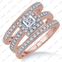 3.65 CT Princess Cut 3 Pcs Engagement Wedding Ring Trio Set Solid 14K Rose Gold - £119.62 GBP