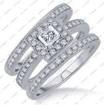 Princess Cut White CZ 14K White FN. 925 Sterling Silver Trio Wedding Ring Sets - £119.62 GBP