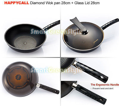 Happycall 28cm  chinese wok frying pan glass lid cookware set non stick 3 ea