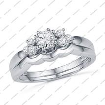 925 Sterling Silver Women White Gold Fn. Women's Wedding Engagement Bridal Ring - £63.80 GBP