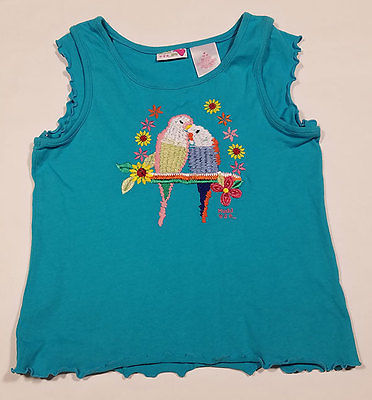 Primary image for MUDD GIRLS MEDIUM 10 12 SHIRT PAIR OF EMBROIDERED PARAKEET LOVE BIRDS BLUE TOP
