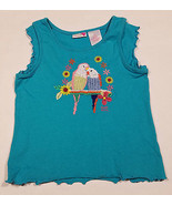 MUDD GIRLS MEDIUM 10 12 SHIRT PAIR OF EMBROIDERED PARAKEET LOVE BIRDS BL... - $13.66 CAD