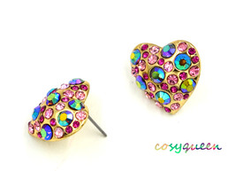 Women new gold mixed stone gliiter love heart stud pierced earrings - $23.08 CAD