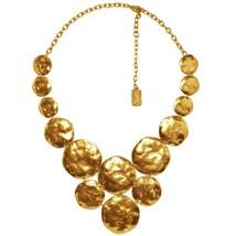 """Karine Sultan Matte 24k Goldplate Lola Statement Necklace,Hammered Medals, 19"""" L - $98.95"""