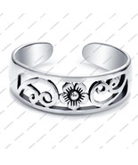 925 Sterling Silver White Fn.Flower Antique Design Toe Ring Adjustable J... - £11.46 GBP