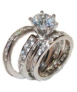 3 Piece Wedding Engagement Wedding Ring Set Sol... - $39.99