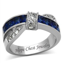 Blue And White Princess Cut Stainless Steel Cz Fashion Ring   Size 5   10 - $15.29