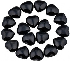 Rockcloud Healing Crystal 0.5 Inch Black Obsidian Carved Worry Stone Chakra Of - $30.40