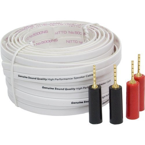 General Electric 30 feet High Performance Flat Speaker Wire with 2 Pairs of Spea