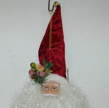 Sterling 382450 Deluxe Santa Head 18 Inches Burgundy Hat White Tensile Beard image 4