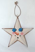 Metal Star Christmas Ornaments 8 Set Snowman Theme 2 Blue Bells 3 Inches image 2